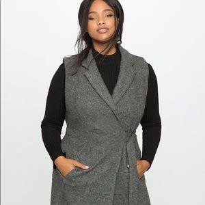Wool blend long tie vest